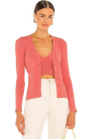 JoosTricot Ribbed Cardigan in - Coral. Size L (also in M, S, XS).