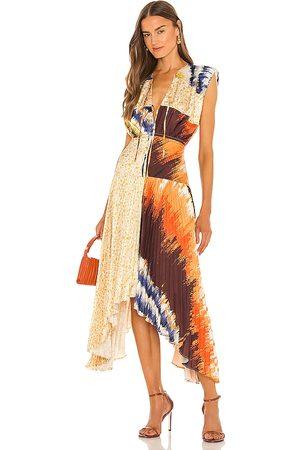 AMUR Milan Pleated Midi Dress in - Tan. Size 0 (also in 10, 2, 4, 6, 8).