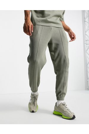 ASOS Co-ord tapered cargo joggers in khaki waffle-Green