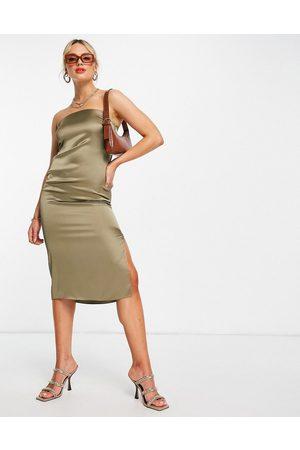 River Island Satin bodycon sleeveless midi dress in khaki-Green