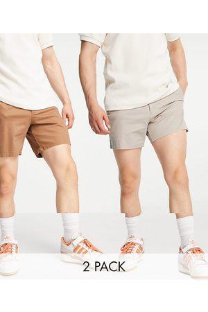 ASOS Homem Calções - 2 pack multilength chino shorts in brown and beige save
