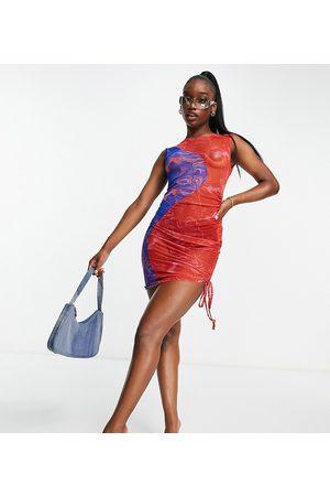 AsYou Senhora Vestidos de Festa - Ruched dress in colourblock swirl print-Red