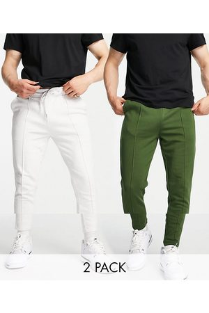 ASOS DESIGN Organic smart skinny joggers with pin tuck front 2 pack in green/white marl-Multi