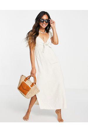 Rhythm Senhora Vestidos Compridos - Aylah tie front maxi beach dress in sand-Neutral
