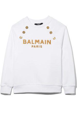 Balmain Menina Camisolas com capuz - Logo-embroidered cotton sweatshirt