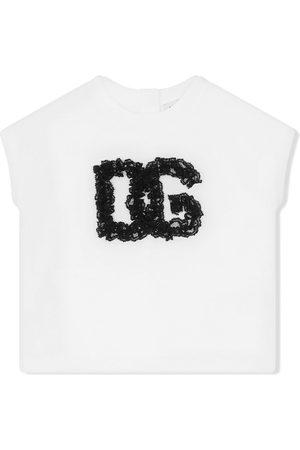 Dolce & Gabbana Lace-logo cotton top