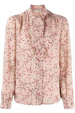 Saint Laurent Floral-print pussy-bow blouse