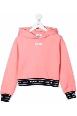 MSGM Kids Menina Camisolas com capuz - Logo long-sleeve hoodie
