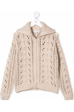 Brunello Cucinelli Menina Camisolas - Knitted zipped cardigan