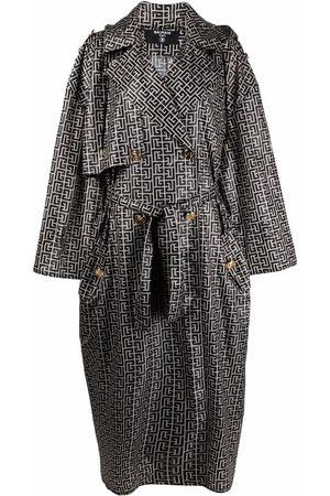 Balmain Senhora Gabardinas - Monogram-pattern trench coat
