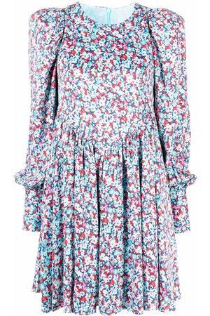 ROTATE Floral-print long-sleeve midi dress