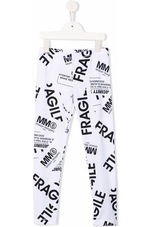MM6 KIDS Fragile-print stretch-cotton leggings