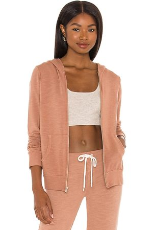 MONROW Zip Up Hoodie in - Rose. Size L (also in XS, S, M).