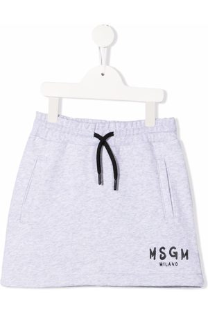 Msgm Menina Saias Estampadas - Logo-print cotton skirt