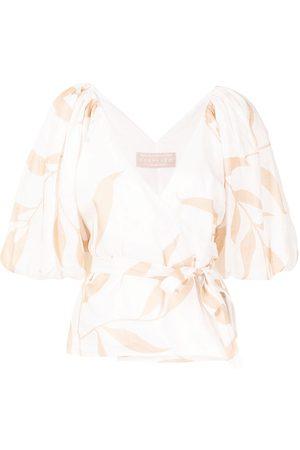Keepsake the Label Alpine leaf-print linen blouse