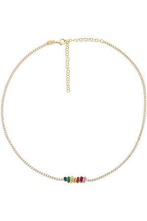 Adina's Jewels Senhora Colares - Scattered Baguette Tennis Choker in - Metallic Gold. Size all.