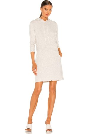 MONROW Double Layer Hoodie Dress in - Light Grey. Size L (also in XS, S, M).