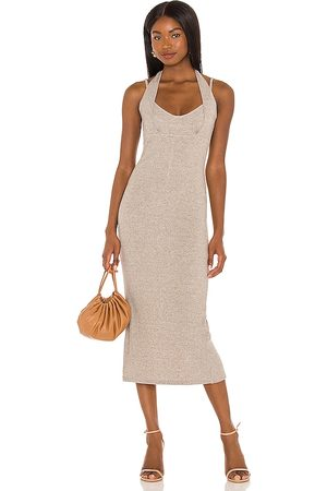 Lovers + Friends Hadlee Dress in - Light Grey,Taupe. Size L (also in XXS, XS, S, M, XL).