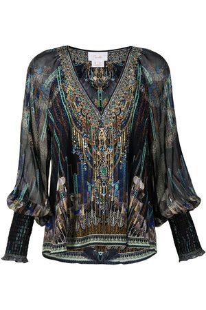 Camilla Senhora Blusas - Dripping in Deco silk blouse