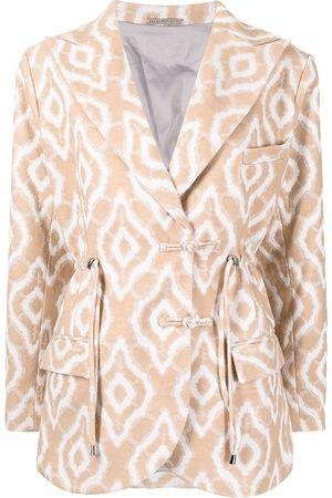 Lisa von Tang Senhora Blazers - Abstract-pattern drawstring blazer