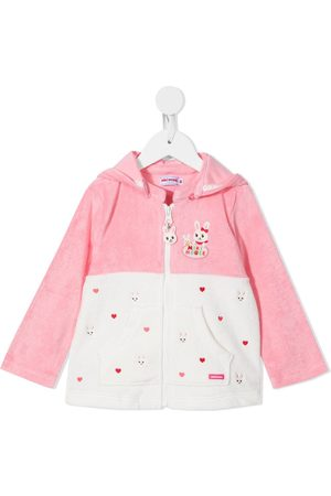 Miki House Menina Camisolas com capuz - Embroidered zip-up hoodie