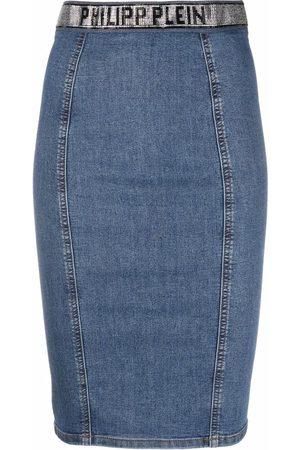 Philipp Plein Senhora Saias-lápis - Super Stretch denim pencil skirt