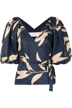 Keepsake the Label Senhora Blusas - Botanical-print tie-waist blouse