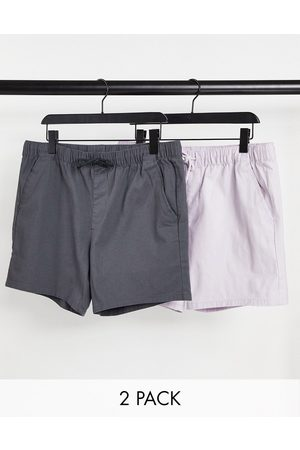 ASOS Homem Calções - 2 pack skinny shorts with elasticated waist in lilac and charcoal save-Multi