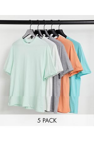 ASOS 5 pack organic t-shirt with roll sleeve-Multi
