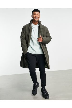 ASOS Homem Parkas - Parka jacket with funnel neck in khaki-Green