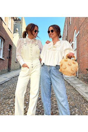 Labelrail Senhora Macacões Curtos - X Collyer Twins relaxed dungarees with broderie trim-White