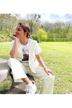 Labelrail Senhora Cintura Subida - X Collyer Twins high waist straight leg jeans in unbleached denim co-ord-White