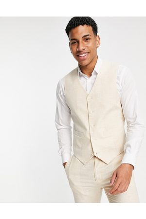ASOS Homem Fatos - Wedding linen super skinny suit waistcoat with prince of wales check in stone-Neutral