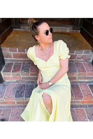 Labelrail Senhora Vestidos Casual - X Collyer Twins midi dress with open back in textured spot-Yellow