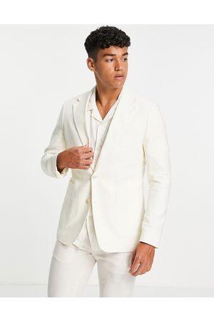 Gianni Feraud Homem Blazers - Slim fit cream linen blend blazer-White
