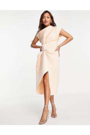 ASOS High neck tuck midi pencil dress in beige-Neutral