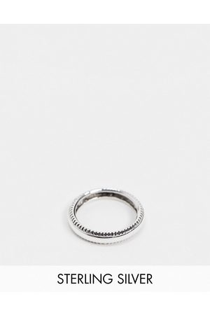 ASOS Sterling silver band ring with textured edge in burnished silver