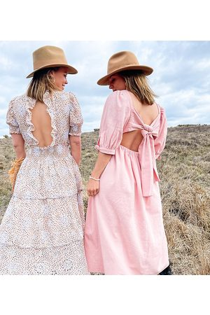 Labelrail Senhora Vestidos Casual - X Collyer Twins midi dress with tie back detail-Pink