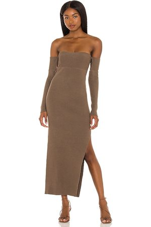 House of Harlow X REVOLVE Hazel Off Shoulder Dress in - Taupe. Size L (also in XXS, XS, S, M, XL).