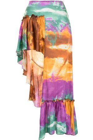 WANDERING Asymmetric tie-dye skirt