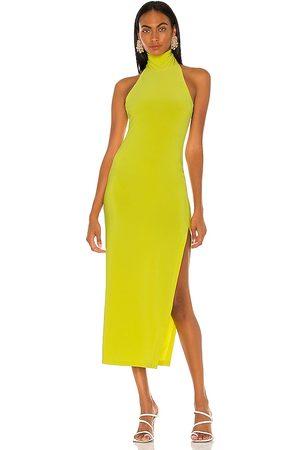 Norma Kamali Senhora Vestidos de Festa - Halter Turtle Side Slit Gown in - Green. Size L (also in XS, S, M).