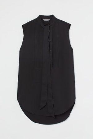H&M Senhora Blusas - Blusa com laçada e nervuras