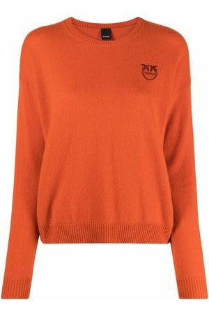 Pinko Embroidered-logo cashmere jumper