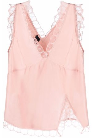 Pinko Lace-trim sleeveless blouse