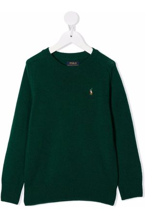 Ralph Lauren Kids Polo Pony-embroidered rib-trimmed jumper