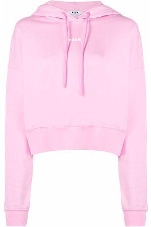 Msgm Senhora Tops de Cavas - Logo-print hoodie