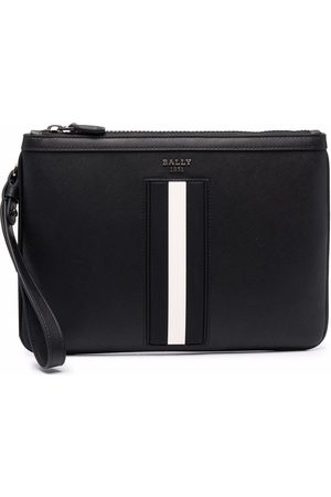 Bally Leather striped wash bag