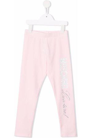 Moschino Embellished-logo leggings