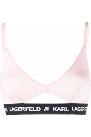 Karl Lagerfeld Peephole logo band bra