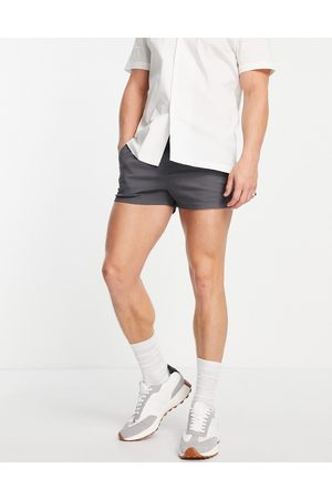 ASOS Chino shorter shorts in slim fit with elasticated waist in charcoal-Grey